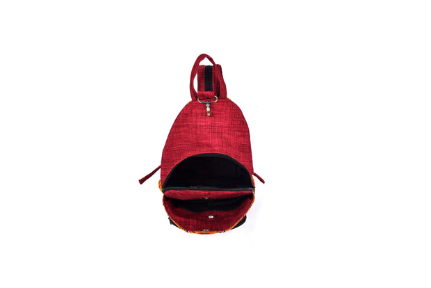 Sling Bag with Metal Clasped and Traditional Brocade Patterns