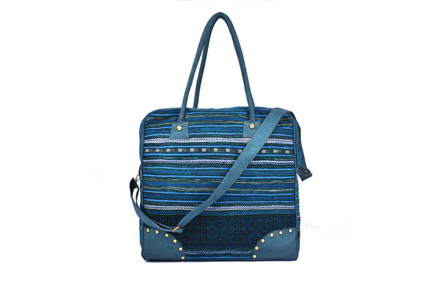 Large Square Travel Bag with Traditional Striped Brocade Patterns