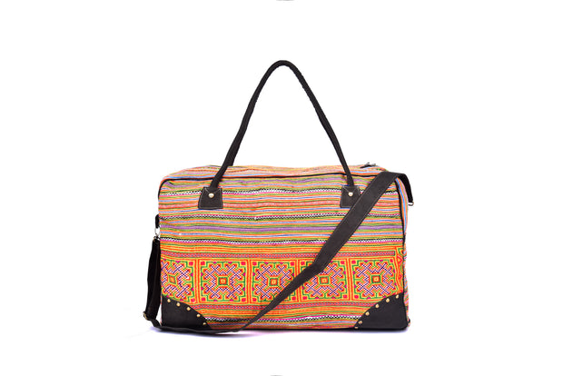 Medium-sized Rectangular Travel Bag with Traditional Striped Brocade Patterns