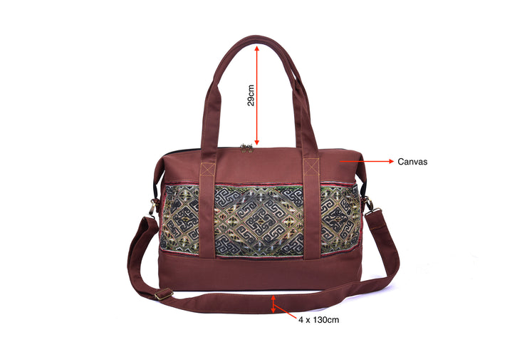 Canvas Travel Bag with Hmong Brocade Pattern