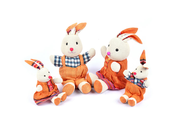 Handmade Rabbit Family with Thai Brocade Patterns Clothing