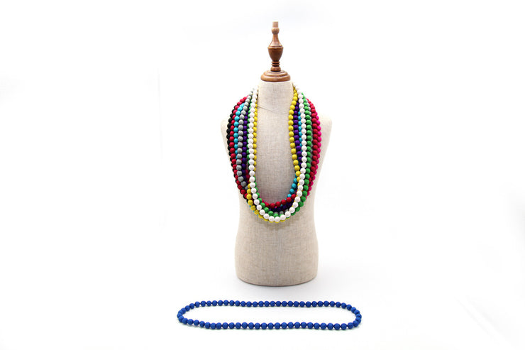 Wooden Bead Necklace with Floral Cloth Tie