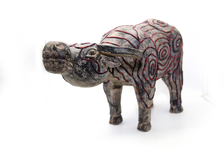 Big Wooden Buffalo Wearning Brocade Hand-drawn Wax Cloth in Traditional Patterns