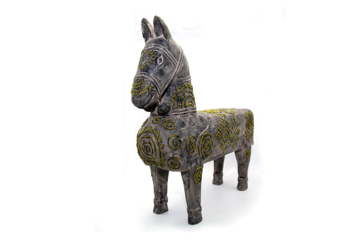 Wooden Small Horse with By Hand Mong Brocade Pattern