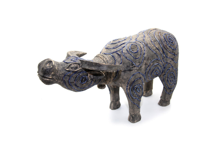 Big Wooden Buffalo with Hand-printed Beeswax Brocade of  H'Mong Ethnic