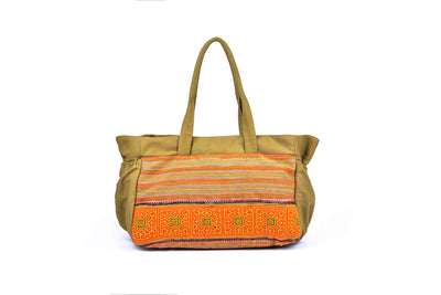 Large Brocade Travel Bag with Elastic Bands on Side Panel and Traditional Brocade Pattern