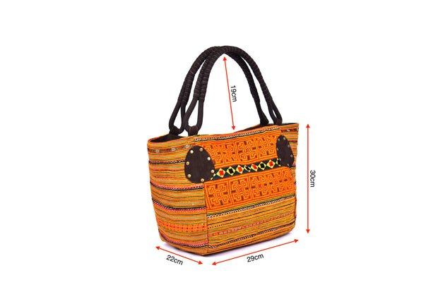 Large Hand Bag with Braided Straps and Traditional Brocade Pattern