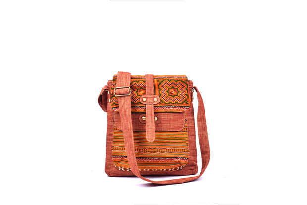 Brocade Satchel Bag with Double Lid and Traditional Brocade Pattern