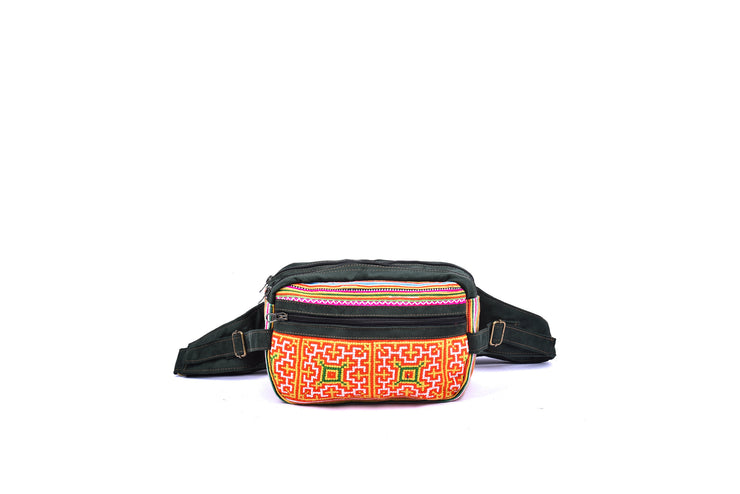 Suede Fanny Pack with Traditional Brocade Pattern