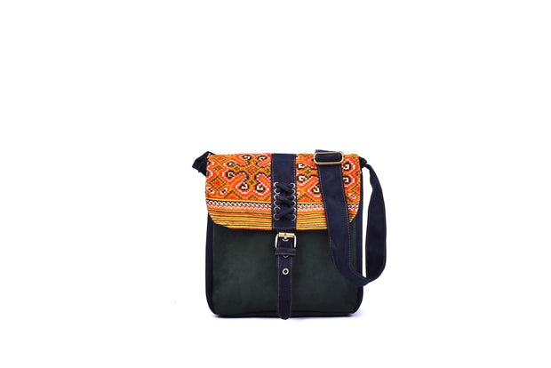 Suede Satchel Bag with Braided - String Designs and Traditional Brocade Pattern on Lid