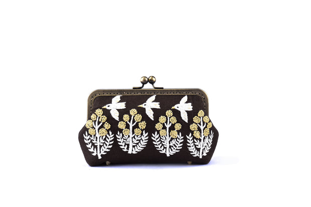 Linen Purse with Hand-sewn Birds and Flowers Patterns