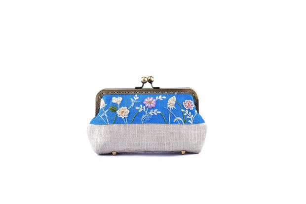 Linen Purse with Hand-sewn Glass Bead Flowers and Grass Patterns