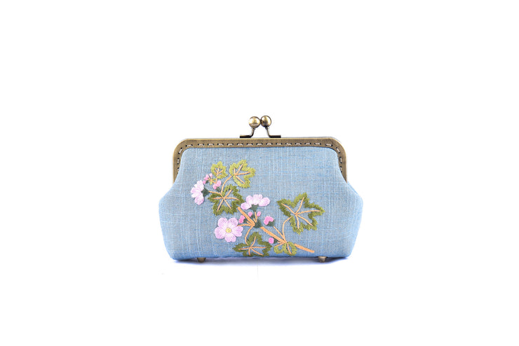 Linen Purse with Hand-sewn Rose Myrtle Pattern