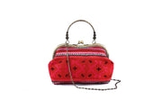 Large Purse with Curved Handle Frame and Traditional Brocade Pattern