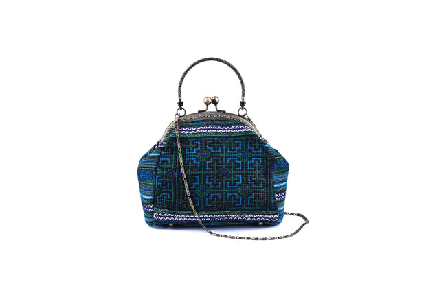 Large Purse with Semicircle - shaped Handle Frame and Traditional Brocade Pattern