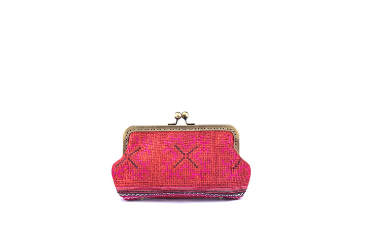 Brocade Purse with Iron and Zinc Alloy Handle Frame and Traditional Brocade Pattern
