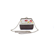 Linen CoinPurse with Iron and Zinc Alloy Handle Frame and Hand-sewn Flowers Patterns