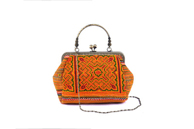Large Purse with Straight Handle Frame and Traditional Brocade Pattern