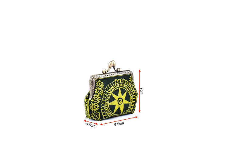 Coin Purse with Iron and Zinc Alloy Handle Frame and Hand-drawn Bee wax Brocade Pattern