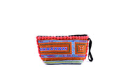 Brocade Purse with Woolen Balls on Fringe and Traditional Brocade Pattern