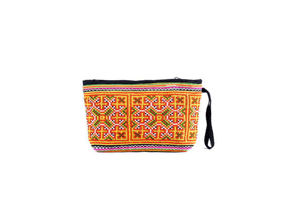 Brocade Purse with Sewn Fringe and Traditional Brocade Pattern