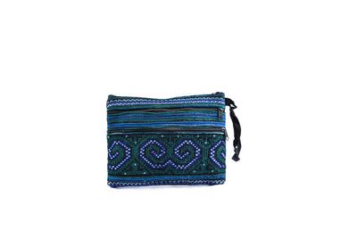 Small Flat Purse with Three Front Zippers and Traditional Brocade Pattern