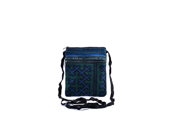 Flat Brocade Passport Bag with Two Zippers and Traditional Brocade Pattern