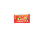 Folded Rectangular Purse with Woolen Balls on Fringe and Traditional Brocade Pattern