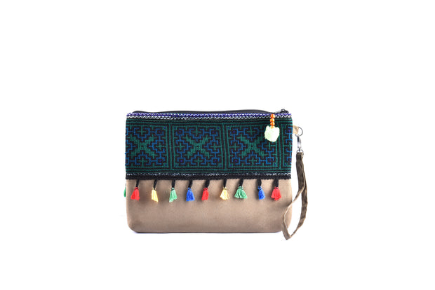 Large Flat Suede Purse with Bristling Woolen Balls and Traditional Brocade Pattern