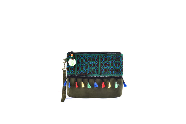 Small Suede Flat Purse with Bristling Woolen Balls and Traditional Brocade Pattern