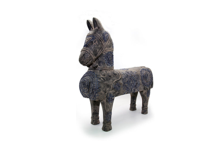 Big Wooden Horse with Hand-printed Beeswax Brocade and The Sun Pattern of Thai Nghe An ethnic