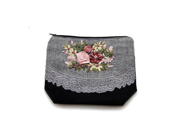 Purse with Zipper Hand-sewn Rose Ribbon and Lace Fabric