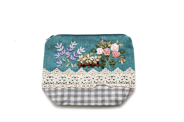 Zipper Purse with Hand-sewn Daisies Ribbon,  Rose and Violet Patterns