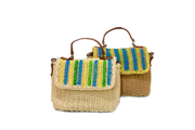 Rectangle Seagrass Bag With Leather Hand Straps And Painted Lid