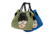Seagrass Bag With Ring-Shaped Opening, Real Leather Straps And Various Of Decorations Pattern