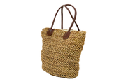 Jute Bag With Leather Shoulder Straps