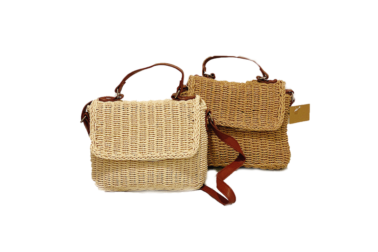 Rectangle Seagrass Bag With Leather Straps