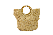 Flower-Crochet Seagrass Bag With Flower On Edge And Round Bamboo Straps