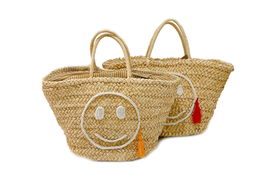 Seagrass And Twine Bucket Bag With Smiley Face Embroidered Base