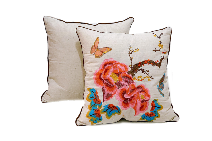 Square Linen Pillowcase 45X45 cm With Embroidered Rose, Butterfly And Tree Patterns