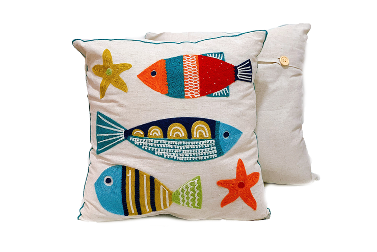 Square Linen Pillowcase 45X45 cm With Embroidered 3 Fishes And 2 Sea-stars Patterns