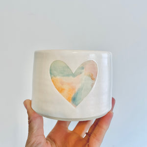 Watercolor heart Planter