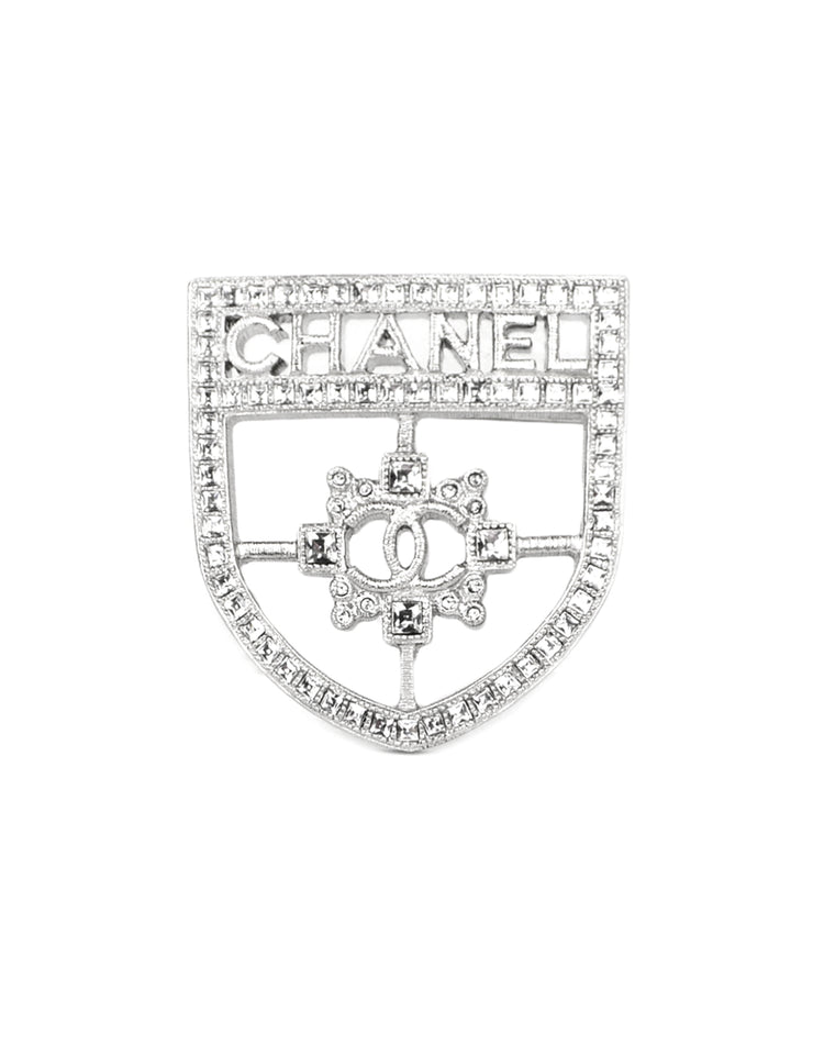 Chanel 2016 Silver Swarovski Crystal CC Shield Brooch