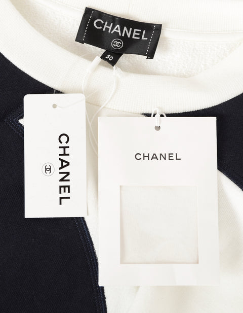 Chanel 2018 Black and White CC Colorblock Crewneck Sweater sz FR 50