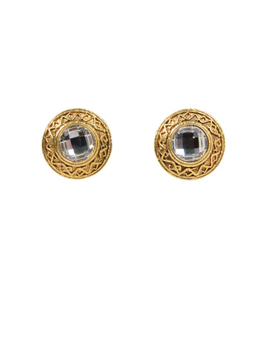 4bc117ab36e Chanel 90s Goldtone Clip On Earrings w/ Crystals