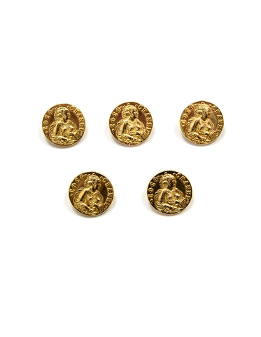 Chanel Set of 5 Coco Goldtone Vintage Buttons