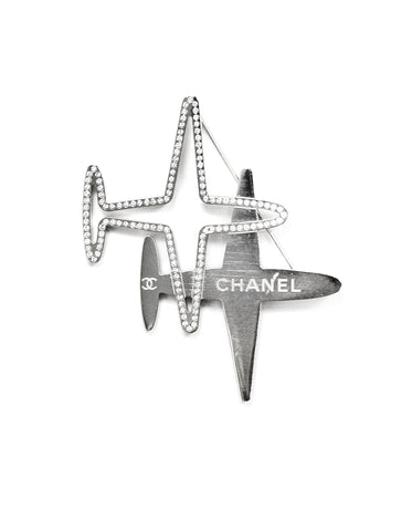 Chanel Two Planes Crystal CC Silvertone Brooch