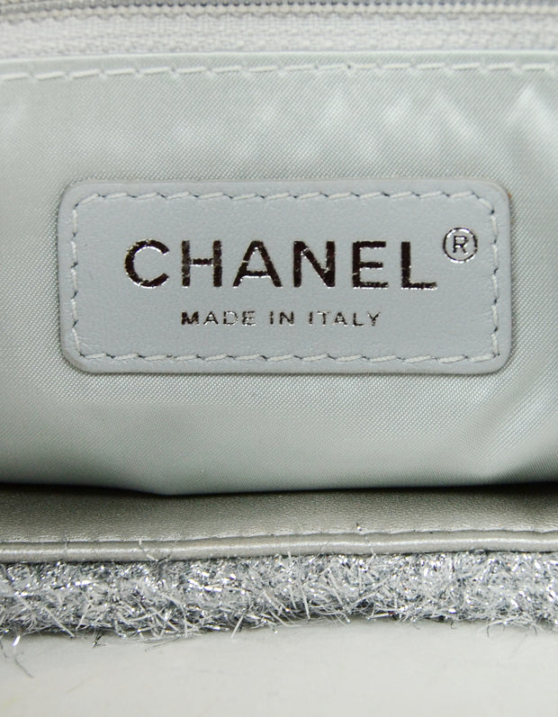 Chanel Silver Quilted Knit Pluto Glitter Large Flap Bag
