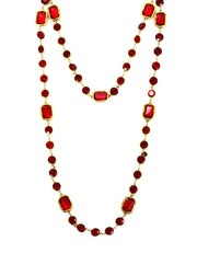 "Chanel Vintage Red Crystal 60"" Sautoir Chicklet Necklace"