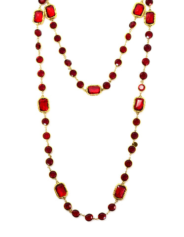 "Chanel Vintage Red Crystal Sautoir 60"" Necklace"